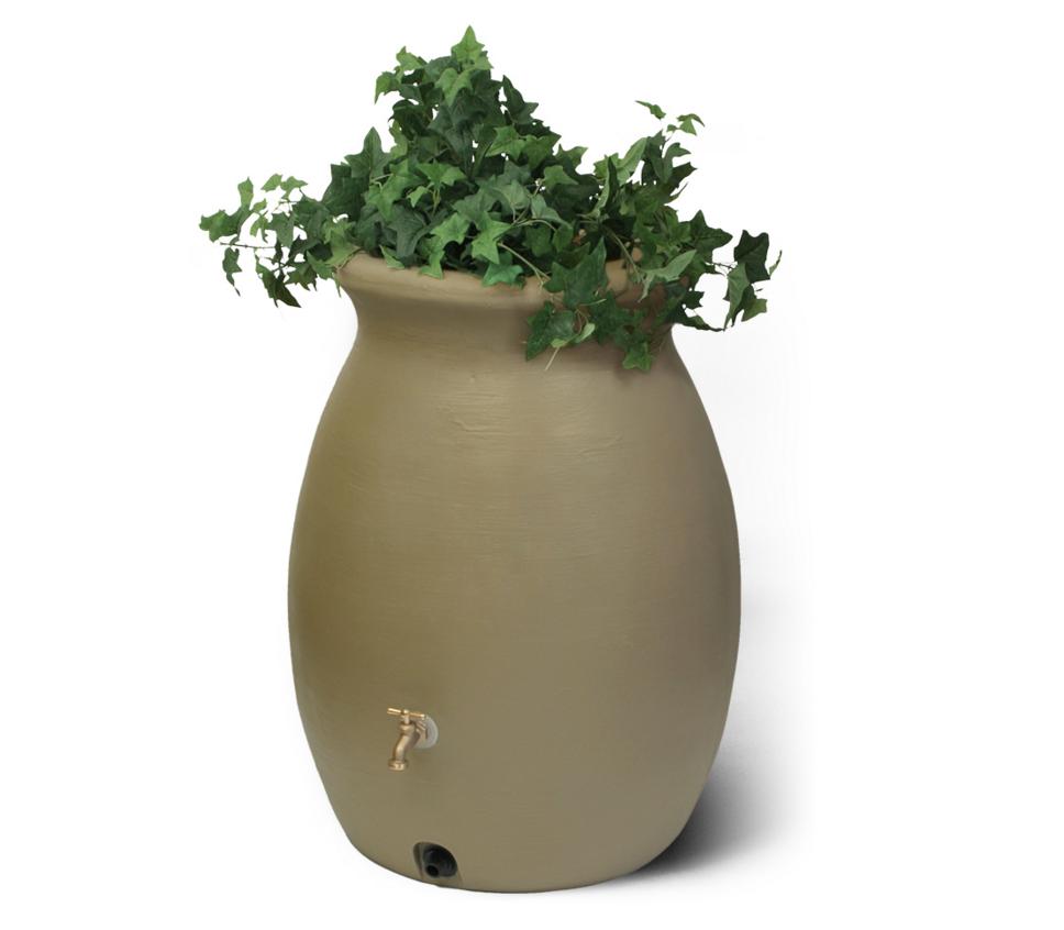 baril r cup rateur d 39 eau de pluie castilla 50 gallons 189 litres avec jardini re sandalwood. Black Bedroom Furniture Sets. Home Design Ideas