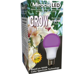 Ampoule DEL Miracle LED Grow Rouge et Bleu 12 W (équivalent 150 W)
